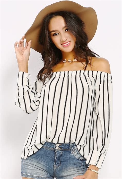 Striped On Shoulder Top striped the shoulder top shop tops at papaya clothing