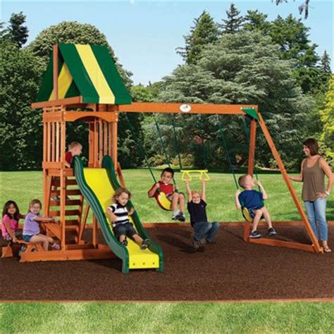 kmart wooden swing sets backyard discovery prestige wood swing set 14 kmart