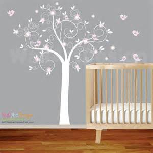 White Tree Wall Decal For Nursery Nursery Decal Swirl Tree With Pink Flowers Birds By Wallartdesign