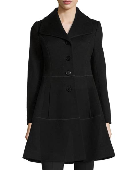 womens swing coat wool fleurette notch collar wool swing coat in black lyst