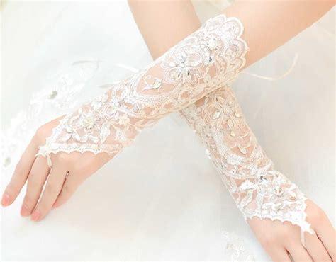Lace Wedding Gloves ivory vintage lace wedding bridal rhinestone