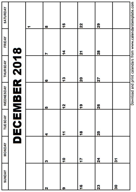 december 2018 calendar template monthly calendar template