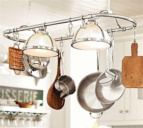 Kitchen Island Pot Rack Lighting Cool Kitchen Storage Ideas
