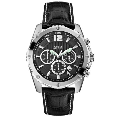 mens guess watches guess mens chronograph black crocograin leather 47mm in black for lyst