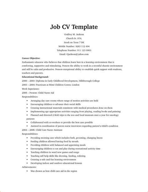 work cv template 13 model cv for application basic appication letter