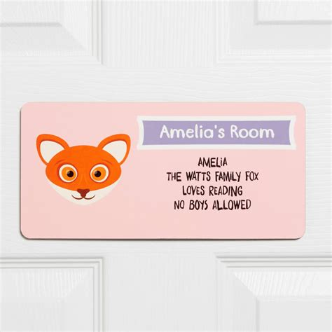 bedroom door signs personalised children s animal bedroom door sign by
