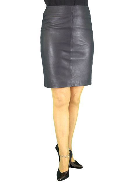 luxury leather pencil skirt above knee 19in length tout