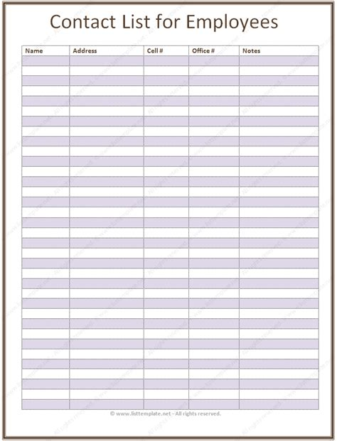 excel address list template doc 585484 doc830583 phone list template excel free