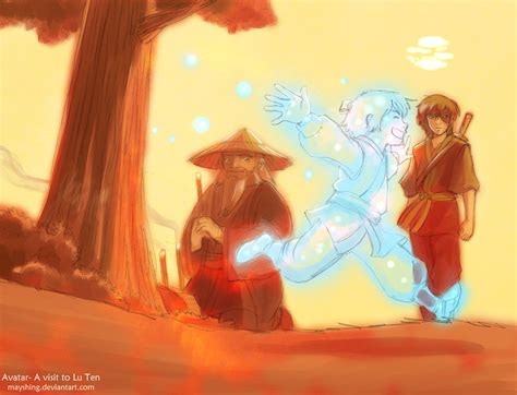 Lu Zuko iroh and zuko visit lu ten by mayshing on deviantart
