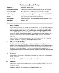 It Security Policy Template by Sle It Security Policy Template 9 Free Documents