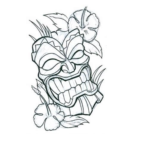 tribal tiki tattoo hawaiian tiki masks coloring pages sketch coloring page
