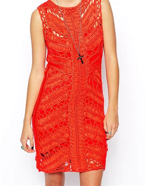 red crochet dress asos body conscious crochet dress with ladder in red lyst