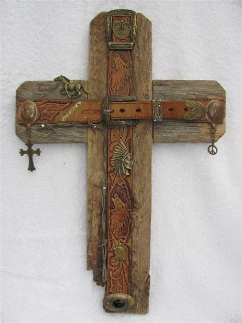 Handcrafted Crosses - recycled wood cross bronze cross handcrafted western