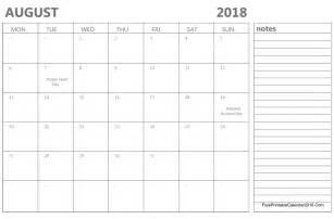 August 2018 Calendar Templates