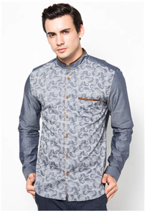 Baju Pria Muslim Modern Warna Merah Bahan Denim Premium Model contoh model busana muslim modern terbaru untuk pria