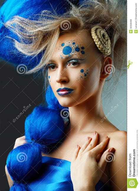 artist of hairstyle woman with creative fantasy hairstyle royalty free stock