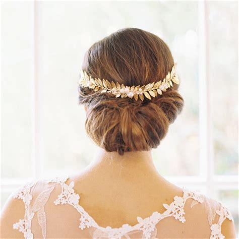 Vintage Leaf Wedding Hair Accessories by Handmade Pearl Tiara Gold Leaf Wedding Bridal Headpiece