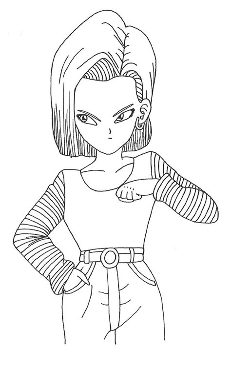android draw android 18 by goude lineart on deviantart