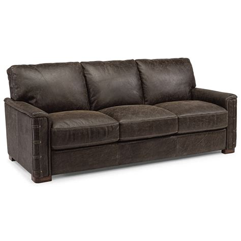 rustic leather couch flexsteel lomax rustic leather sofa with nailhead details