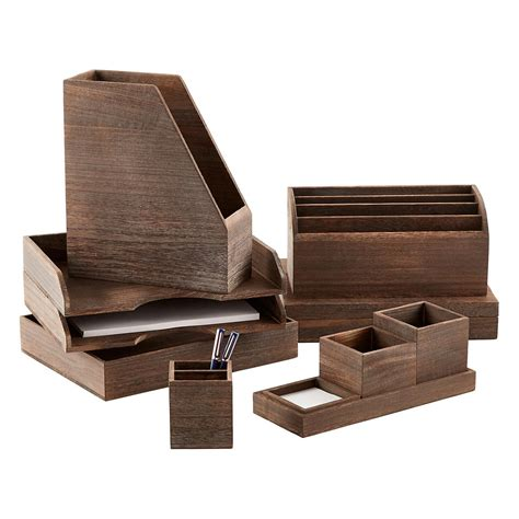 Wooden Desk Top Organizers Feathergrain Wooden Desktop Organizer The Container Store