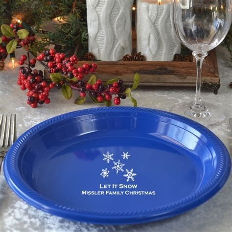 10 Inch Personalized Snowflake Plastic Dinner Plates