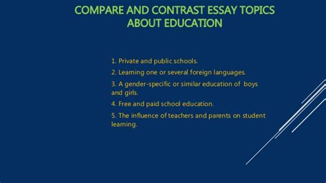 Compare And Contrast Essay Prompts by Compare And Contrast Essay Topics