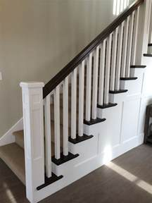 Entryway Runner White Newel Post Charcoal Stained Handrail White Square