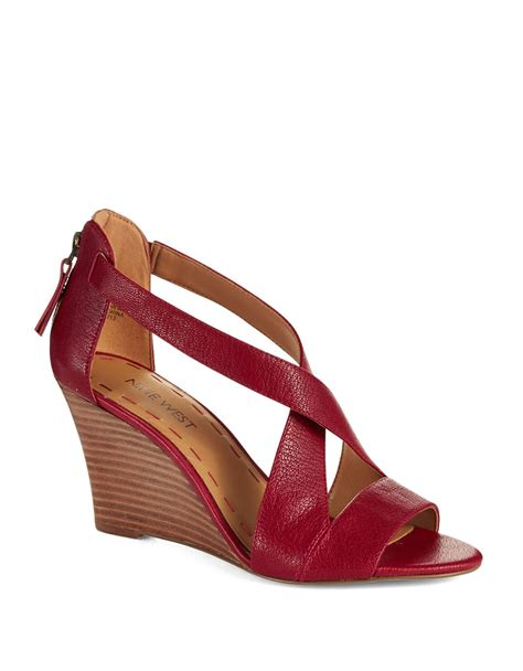 Sandal Wedges Flowy lyst nine west fichel strappy wedge sandals in