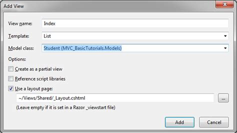 include layout in view mvc view in asp net mvc