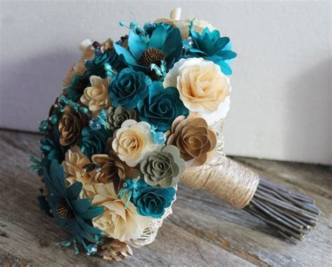 teal and ivory wedding ideas teal ivory brown copper rustic wood bouquet