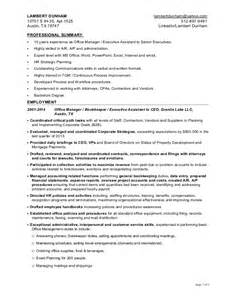 Ceo Personal Assistant Sle Resume by Office Manager Executive Assistant Resume For Lambert Dunham 6 12 2