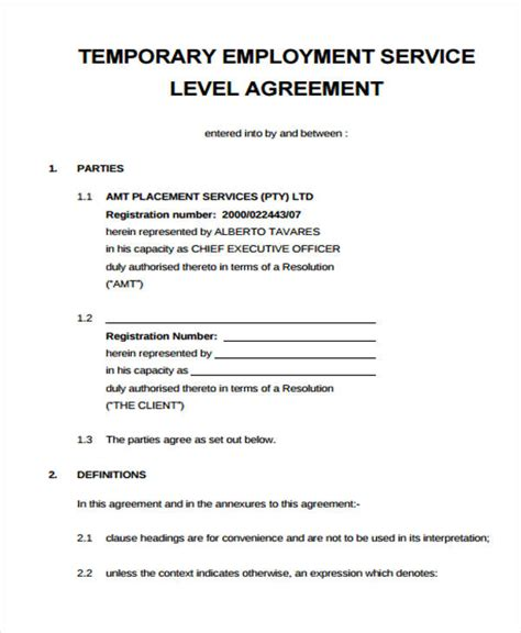 hr service level agreement template service agreement form
