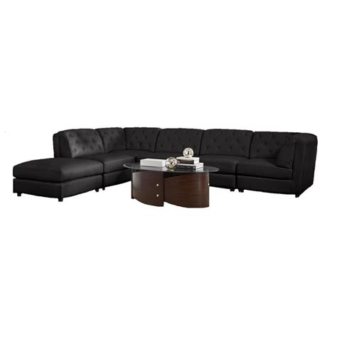 Modular Sectional Sofa Leather Coaster Quinn Transitional Modular Leather Sectional Sofa In Black 3x551031 2x32 1x33 Kit