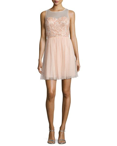blush beaded dress aidan mattox beaded dress blush