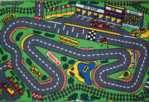 Global Kids Pitstop Racing Track Cars Play Mat 100x150 Car Track Rug