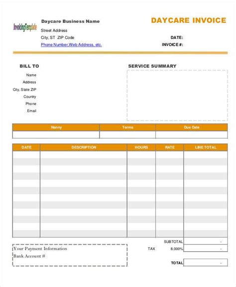 free daycare invoice template 8 daycare invoice templates free sle exle format