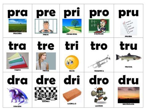 imagenes con palabras pra pre pri pro pru silabas