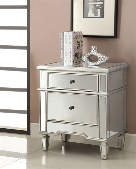 silver 2 drawer accent cabinet coaster 950291