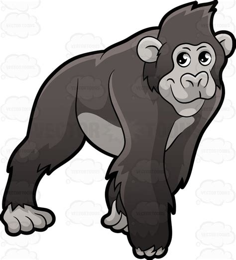 ape clipart a gorilla on all fours clipart by vector
