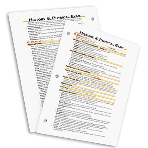 Physical Assessment Card Template by History Physical Sheet