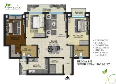 Sq Ft by Aarcity Regency Park Floor Plan 1500 Sq Ft