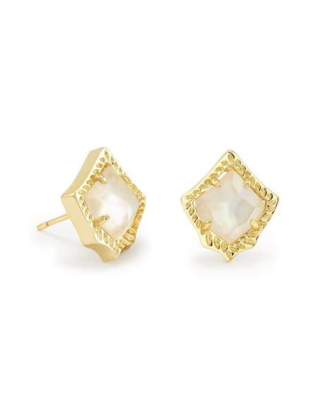 shop kendra kirstie stud earrings in ivory pearl in