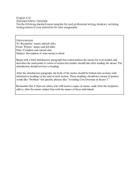 Standard Briefformat Standard Memo Template Free