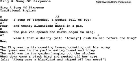 song of lyrics traditional song sing a song of sixpence with chords tabs