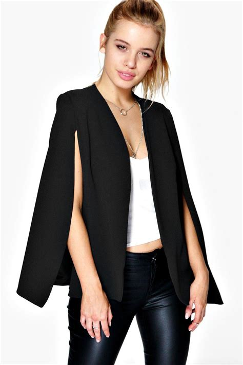Cape Blazer boohoo womens split front cape blazer ebay