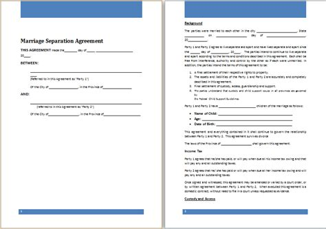marriage separation agreement template sle separation agreement