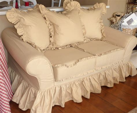 cottage chic slipcovers cottage by design with trish banner super ruffly sofa