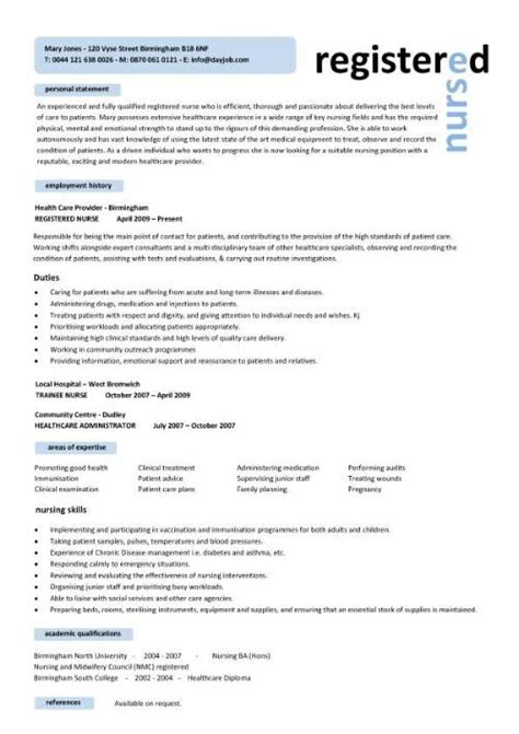 Nursing Resume And Cv Nursing Cv Template Resume Exles Sle Registered Resumes Healthcare Work