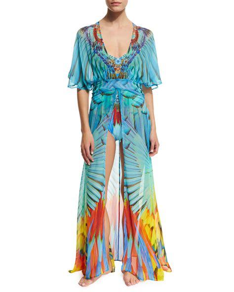 camilla v neck printed silk coverup dress lyst