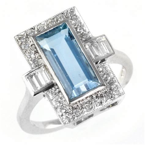deco emerald cut ring 18ct white gold deco style emerald cut aqua ring